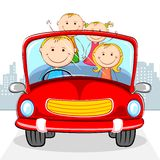 Family in Car. Illustration of family travelling in car on cityscape backdrop Royalty Free Stock Photos