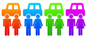 Family car. A couple or family buying, owning and driving a car (image resolution is sufficiently high for the different colors to be used separately Royalty Free Stock Photography