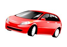 Family Car. An illustration of a red family car Stock Images
