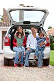 Family with a car Royalty Free Stock Photography