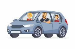 Family in the car - cartoon people character isolated illustration. On white background. An image of a young smiling parents with a happy daughter, having a stock illustration