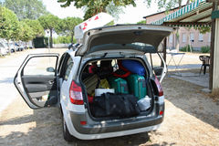 Family car of charge luggage ready for departure. On holiday Stock Photo
