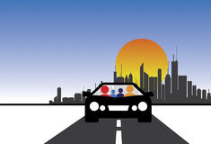 Family, car and city concept vector graphic vector illustration