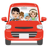 Family Car Driving - Front view Stock Photos