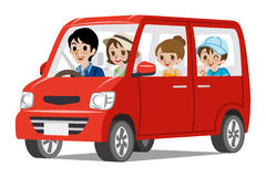 Family Car Driving -Side view. 