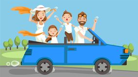 Family in car. Happy family traveling by Blue car Convertible. People set father, mother and children.Waving, smiling and laughing. sitting in automobile and Stock Photos