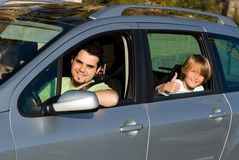 Family car hire or rental. Family on vacation with hire car or rental royalty free stock images