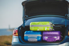 Family car, ready to travel. Car full of suitcases and bags to return from summer holidays Royalty Free Stock Image