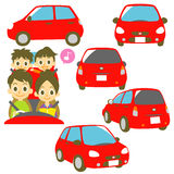 FAMILY in a car, red car illustrations Royalty Free Stock Images