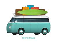 Family car with roof rack packed for the trip. Van in with surfboard. Family car with roof rack packed for the trip. Modern van in vintage style with surfboard Royalty Free Stock Image
