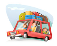 Family car travel cartoon design vector illustration Royalty Free Stock Photos