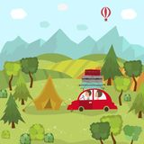 Family car trip and camping in countryside, fields. Family car trip and camping in countryside, green fields, trees, mountains and blue sky, flat cartoon vector Stock Photo