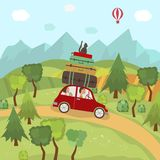Family car trip in countryside, hills, mountains. Family car trip in countryside, fields, trees, mountains and hot air balloon in blue sky, flat cartoon vector Royalty Free Stock Image