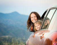 Family car trip stock image
