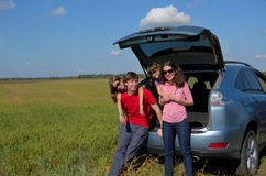 Family car trip on summer vacation Royalty Free Stock Photos