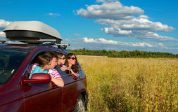 Family in car on vacation Stock Image