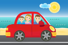 Family in the car vector Stock Photo
