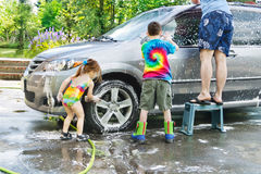 Family car wash Stock Photos