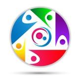 Family care love happy logo, union concept logo in circle stock illustration