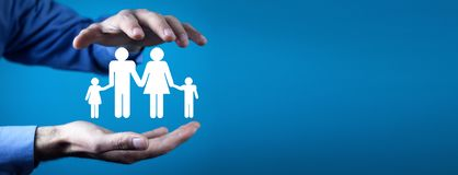 Family care and protection insurance concept royalty free stock photography
