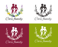 Family care vector. Happy family concepts: father, mother, daughter and son together. Family care logo vector design. Child Care and Medical Services. Child Stock Photo