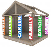 Family Career Learning Leisure Exercise Community Strong Foundat. Family, career, learning, leisure, exercise, and community words in 3d letters on wood beams in Stock Photography