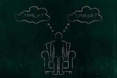 Family or career, person evaluating life priorities. Person sitting on a chair thinking about prioritising family or career Royalty Free Stock Photography