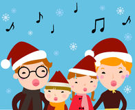 Family carolers. Illustration of a family with children carolers Royalty Free Stock Photography