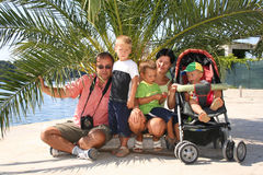 Family with carriage Stock Photos