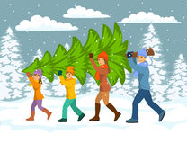 Family carries christmas tree home. Royalty Free Stock Images