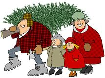 Family carrying a Christmas tree vector illustration