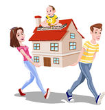 Family Carrying a House, illustration Stock Image