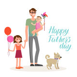 Family cartoon dad. Cartoon characters of family. Dad and his children celebrating father`s Day. Inscription Happy Father`s Day Royalty Free Stock Photos