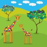 Family of cartoon giraffes walking among trees. Royalty Free Stock Photography