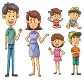 Family. Cartoon illustration of a family set Stock Photography