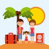 Family cartoon island palm tree icon. Swimming and vacations. Stock Images