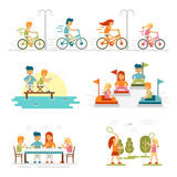 Family cartoon set with celebrations holidays and activities. Happy lifestyle outdoors together isolated vector. Illustration. Family riding bicycles. Daughter Royalty Free Stock Photography