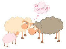 Family of cartoon sheep Royalty Free Stock Images