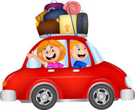 Family cartoon traveling with car Stock Image