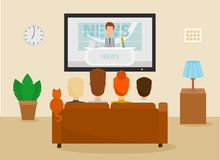 Family with cat watching TV daily news program sitting on the couch at home in the living room. Vector. Illustration in a cartoon style Royalty Free Stock Image