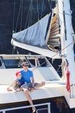 Family at catamaran Royalty Free Stock Image
