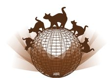 Family of stylized cats on a globe isolated Stock Images