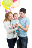 Family celebrate son birthday and blowing candle on cake Royalty Free Stock Photography
