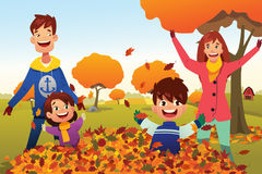 Family Celebrates Autumn Season Outdoors royalty free illustration