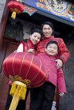 Family Celebrates Chinese New Year Stock Image