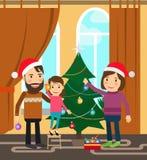 Family celebrates winter holidays Royalty Free Stock Images
