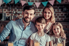 Family celebrating birthday stock photo