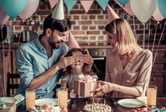 Family celebrating birthday Stock Images