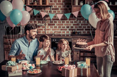 Family celebrating birthday Royalty Free Stock Photography