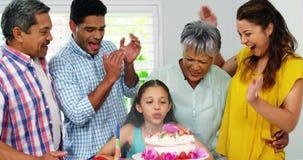 Family celebrating birthday. At home stock video